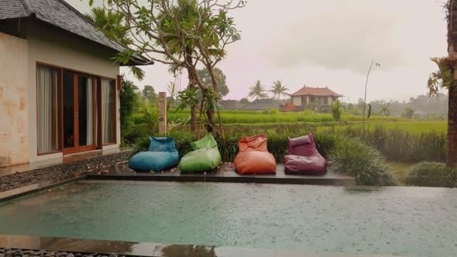 Private pool villa near a rice paddy in Indonesia