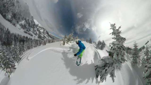 360 SELFIE 3D Pro snowboarder having fun riding fresh powder snow video