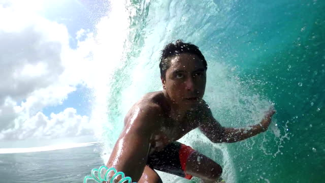 SLOW MOTION: Pro surfer surfing big tube wave and falls video