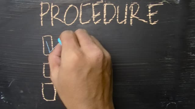 Procedure! written with color chalk. Supported by an additional services. Blackboard concept Procedure! written with color chalk. Supported by an additional services. Blackboard concept obedience stock videos & royalty-free footage