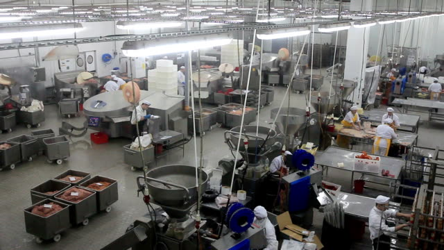 vídeos y material grabado en eventos de stock de el procesamiento de la producción de carne timelapse - carne