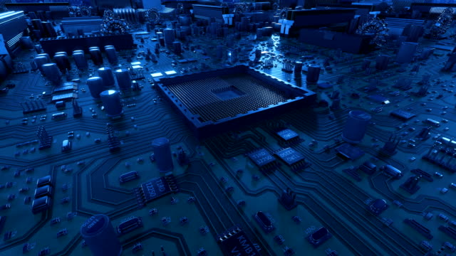processor installation on the motherboard process with flares. beautiful 3d animation of circuit board and cpu with flares. technology and digital concept. - chip komputerowy filmów i materiałów b-roll