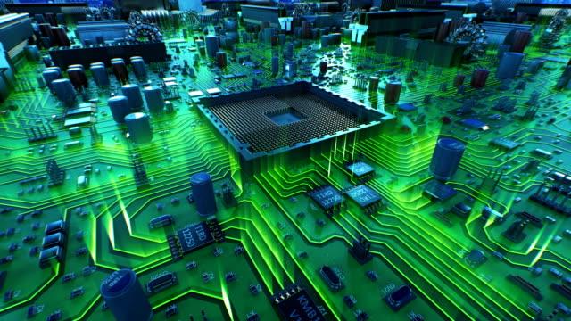 vídeos y material grabado en eventos de stock de instalación del procesador en el proceso de la placa base con luces verdes. hermosa animación 3d de circuitos y cpu con onda y bengalas. concepto digital y tecnología. - placa madre