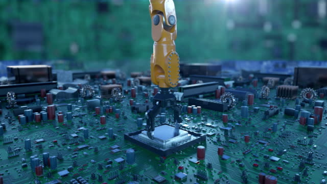 processor installation process on the circuit board with robotic arm. dof blur. 3d animation of the motherboard with cpu. technology and digital concept. - ai stock videos & royalty-free footage