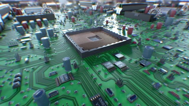 vídeos y material grabado en eventos de stock de proceso de instalación del procesador en la placa base con dof desenfoque. hermosa animación 3d de la placa de circuito y la instalación de la cpu. concepto digital y tecnología. - placa madre