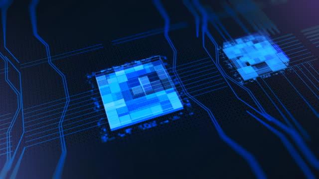 プロセッサの CPU の概念。アニメーション。マザーボードのデジタルチップ。デジタルサイバー空間におけるコンピュータ中央処理装置CPUの抽象アニメーション ビデオ