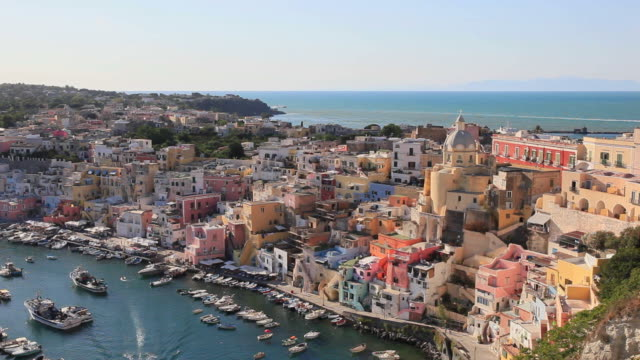 procida, corricella marina at sunset. - procida video stock e b–roll