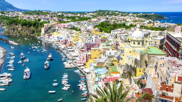 Procida island near Naples 4K time lapse, Italy.