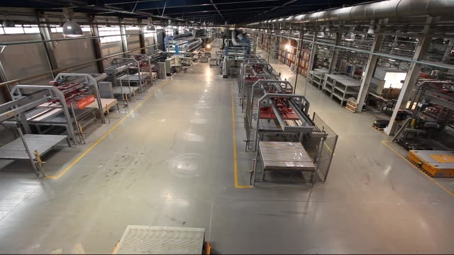 Production conveyor, conveyor line, conveyor belt, ceramic tile, kiln firin, Production of ceramic tiles, production interior, Ceramic tile factory, modern production interior, Indoors, inside video