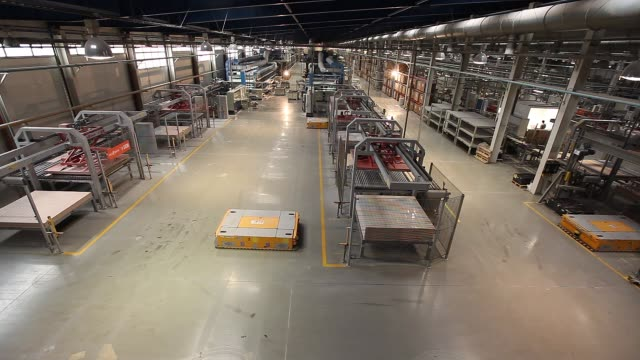 production conveyor, conveyor line, conveyor belt, ceramic tile, modern production interior - automatico video stock e b–roll