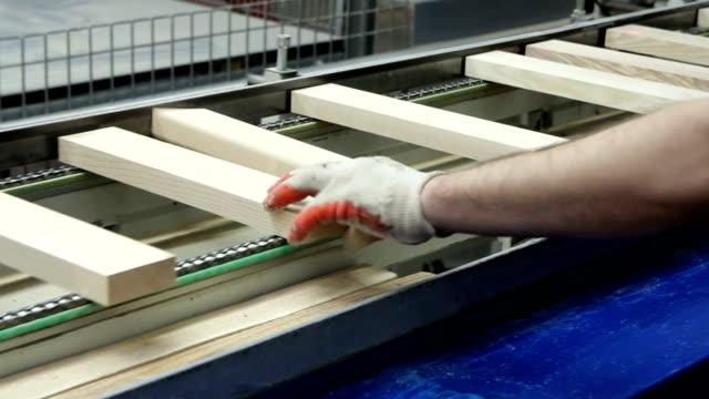 vídeos de stock e filmes b-roll de production line in woodworking factory - material de construção