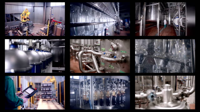 Production line of carbonated drinks. Multiscreen montage. Industrial background. video