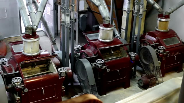 Production of wheat flour Electromotors electrical mill machinery for the production of wheat flour,video clip pipe connector stock videos & royalty-free footage