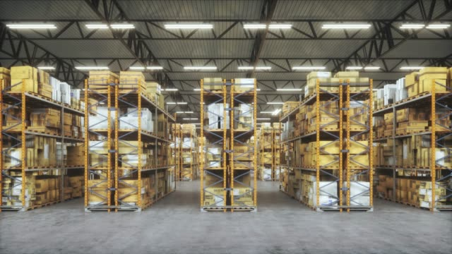 vídeos de stock e filmes b-roll de products in distribution warehouse. horizontal camera move between the rows shelves with cardboard boxes. - prateleira mobília