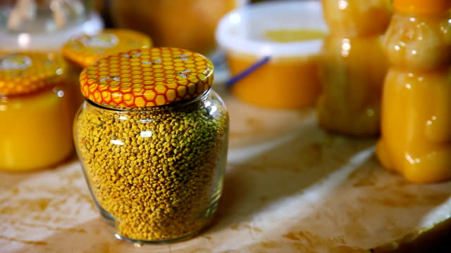 Products of livelihoods of bees. Beeswax, honeycomb, honey, pollen, propolis. Products of beekeeping. video