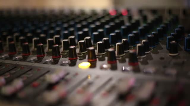 Professional audio mixing console at studio