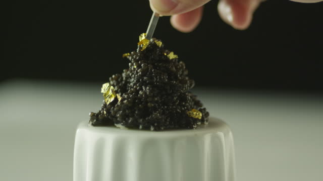 Professional Cook Garnish Black Caviar with Gold in Luxury Restaurant Professional Cook Garnish Black Caviar with Gold in Luxury Restaurant. Shot on RED Cinema Camera in 4K (UHD). garnish stock videos & royalty-free footage
