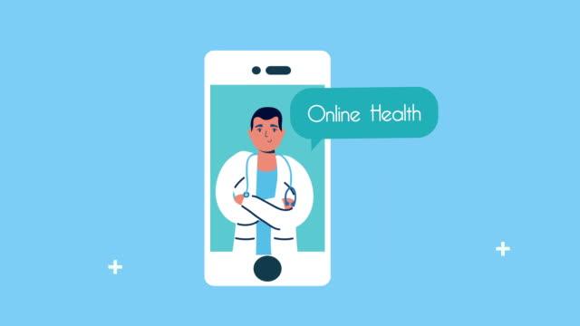professional doctor in smartphone telemedicine video