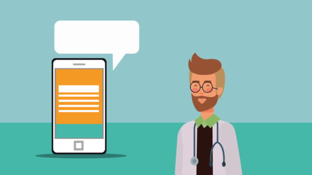 professional doctor medical character animation - telemedicine stock videos & royalty-free footage