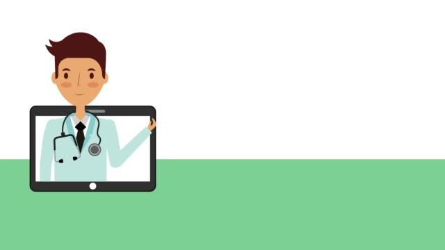 健康的なライフスタイルアニメーションを持つプロの医師 - ぶどう イラスト点の映像素材/bロール