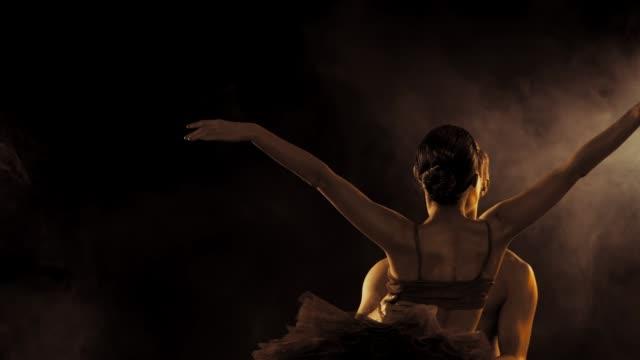 profesyonel, duygusal bale dansçıları cinsel çift altın vücut sanatı ile gerçekleştirdiği koyu duman sahnede. altın parlayan cilt. kadın moda tutu ve üst. ağır çekim - i̇ki nesne stok videoları ve detay görüntü çekimi