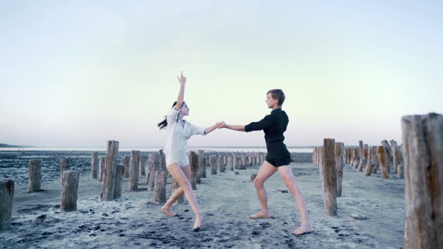 professional, emotional ballet dancers performed by couple on sandy beach. graceful sensual elements of classical or modern ballet. slow motion. - balet filmów i materiałów b-roll
