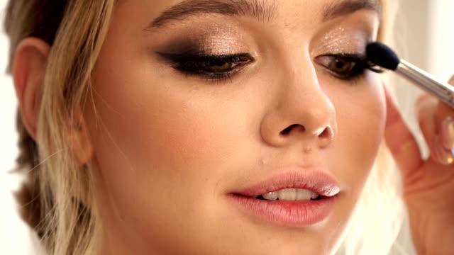Professional eye makeup. Close-up of eye makeup.full hd video eyelash stock videos & royalty-free footage