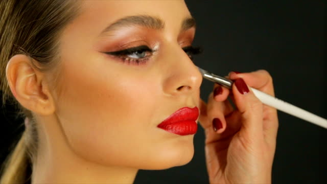 Professional eye makeup. Close-up of eye makeup.full hd video eyeliner stock videos & royalty-free footage