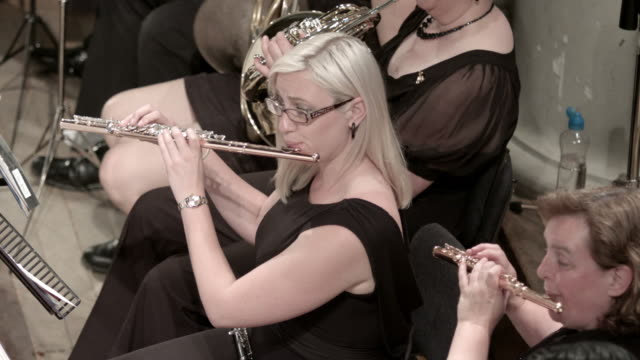 Professional flautist plays in orchestra video