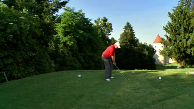 AERIAL Professional Golfer Teeing Off video