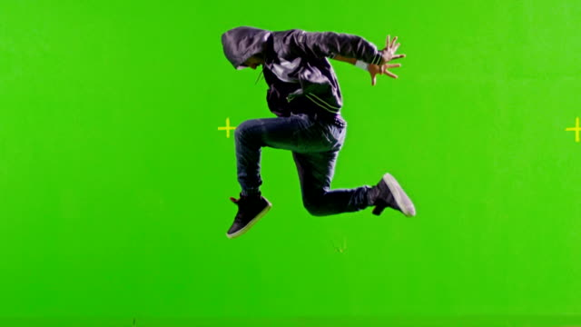 few shots! professional hip hop break dance. dancing on green screen. slow motion. - chroma key bildbanksvideor och videomaterial från bakom kulisserna