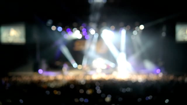 Professional lighting equipment on stage during a performance of popular rock groups. video