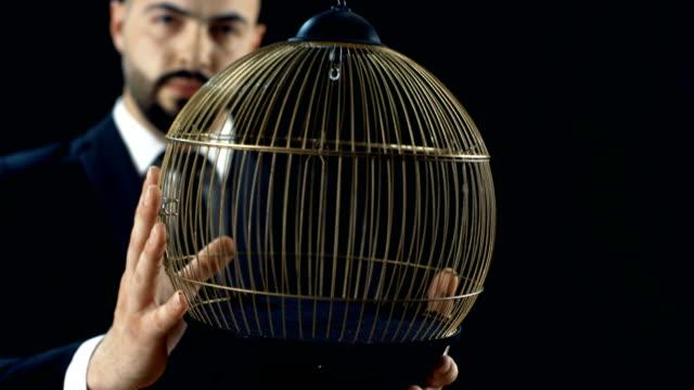 professionell trollkarl i svart dräkt utför fågel (vit papegoja) som förekommer i en tom bur trick. bakgrunden är svart. - saknad känsla bildbanksvideor och videomaterial från bakom kulisserna
