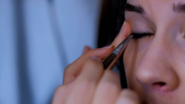 Professional make-up artist applying eyeliner around the entire eye of model Professional make-up artist applying eyeliner around the entire eye of model. Beauty, makeup and fashion concept eyeliner stock videos & royalty-free footage