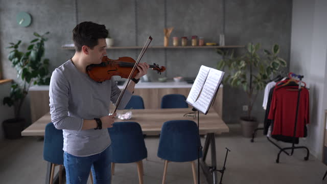 Professional male violinist rehearsing music piece at home
