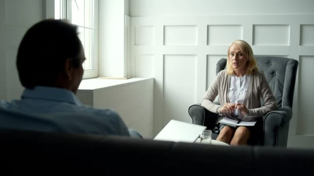 Professional psychologist giving consultation video
