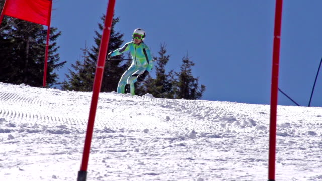 HD: ZOOM, Professional Skier Practicing Giant Slalom video