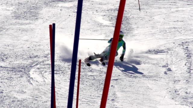 HD: ZOOM, Professional Skier Practicing Slalom video