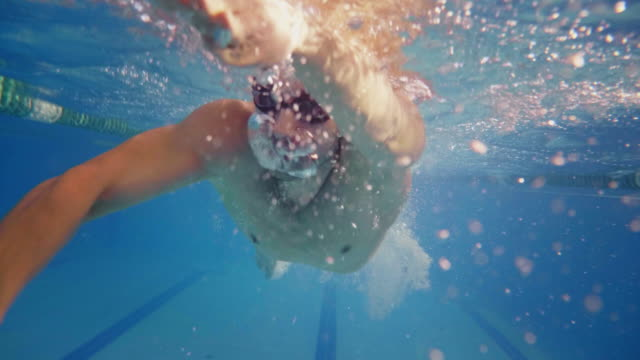 professional swimmer is encouraged by his coach for new record achievement. - triatleta video stock e b–roll