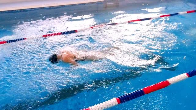 プールでのトレーニングをプロの水泳選手。スローモーション。 - 水泳点の映像素材/bロール