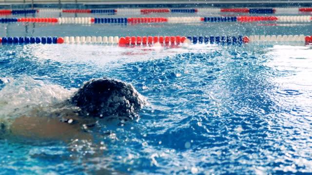vídeos de stock e filmes b-roll de a professional swimmer trains, close up. - swim arms