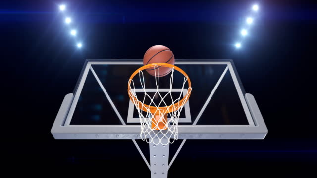 Professional werfen Basketball Hoop-Slow-Motion-Player-Ansicht. Schöne Ballflug in Korb Netto Stadion leuchtet. Sport-Konzept. 3D animation – Video