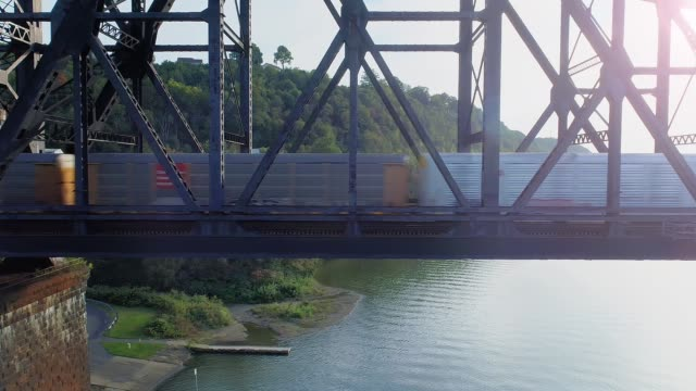 profile aerial cargo freight train on railroad bridge - chiatta video stock e b–roll