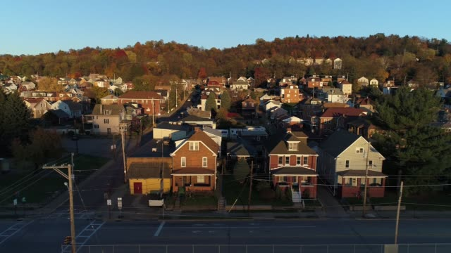 Profile View of Typical Pennsylvania Small Town at Sunset