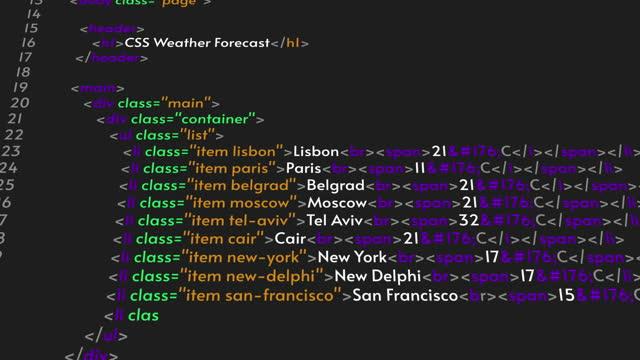 Program code animation on black background. IT concept. HTML or Java code
