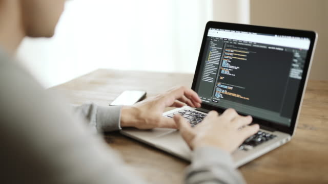 Programmer working in office writing programming code