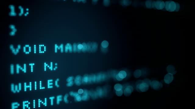Programming code on screen. Seamless loop animation video