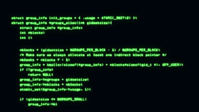 programming code running down a computer screen terminal. 4k - spyware filmów i materiałów b-roll
