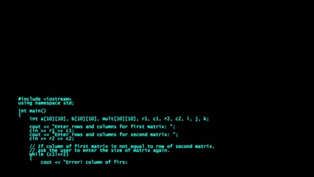 c++ programming code running down a computer screen terminal - crittografia video stock e b–roll