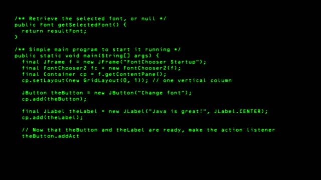 Programming code running down a old computer screen terminal. 4k loop
